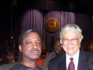 Michael Woods & former Nola Mayor Sidney Barthelemy at the Unity City Council meeting in Jan. '06
